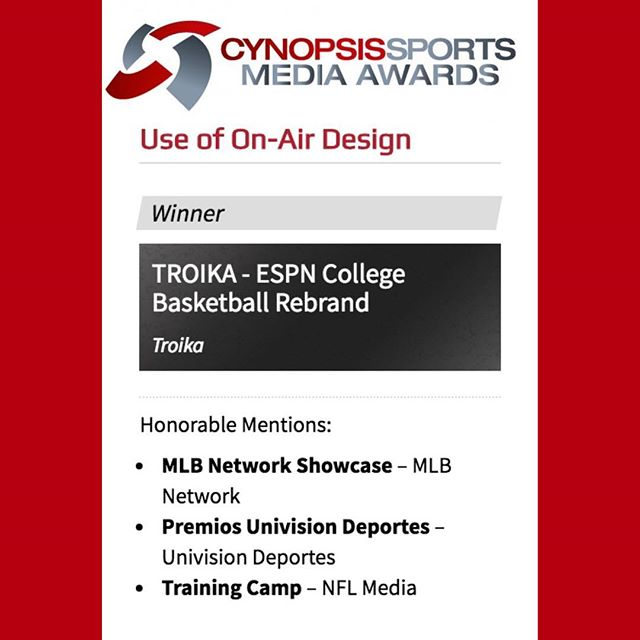 "Congratulations to us 🎉🍾🎊 Troika is the ""2018 Content Winner for Use of On-Air Design"" of Cynopsis Sports Media Awards 👏🏼👏🏼👏🏼 We developed ""Fanitude,"" a strategy that brought fan energy – from team chants to handmade signs – on screen, unfiltered.  Thanks to the team who have done the excellent job on ""ESPN COLLEGE BASKETBALL REBRAND @cynopsismedia"