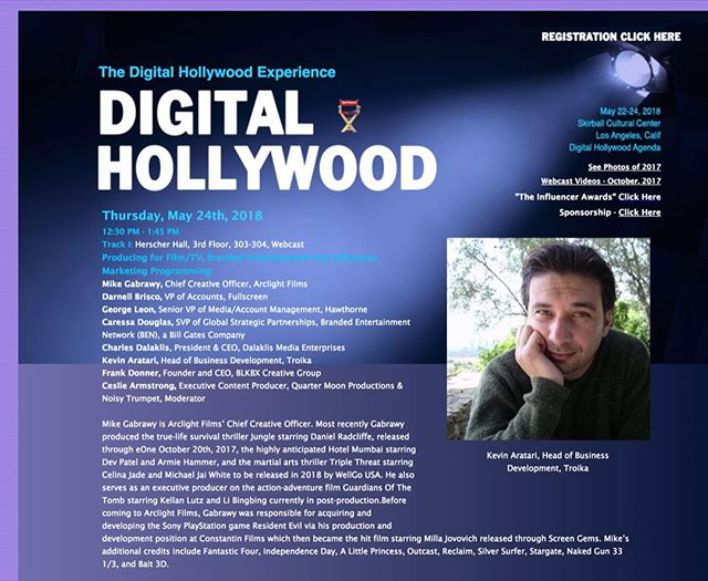 "Our Head of Business Development, Kevin Aratari, will be speaking at a LA 2018 next Thursday, May 24th! The panel discussion is called ""Producing for Producing for Film/TV, Branded Entertainment & Influencer Marketing Programming."" Check it out"